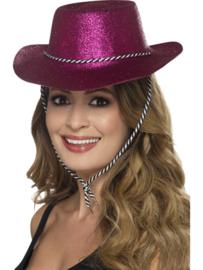 Cowboy glitter hoed hotpink