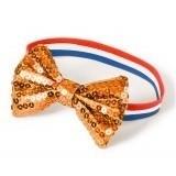 Oranje glitter strik armband