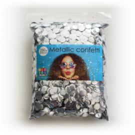 Confetti metallic rond 10mm 250 gram zilver