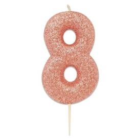Nummerkaars glitter rosegoud '8'