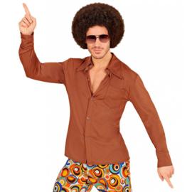 Groovy 70's  heren shirt bruin