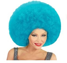 Pruik afro extra groot turquoise