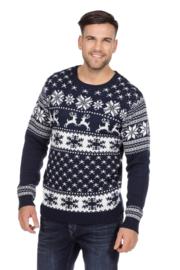 kerst trui blauw classic
