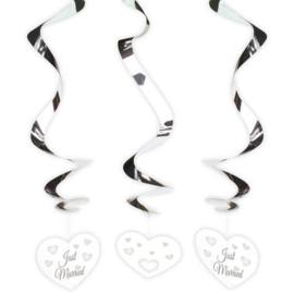 Spiraal hangdeco's trouwen 3 stuks