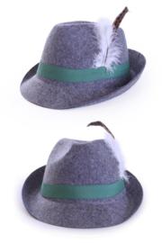 Oktoberfest hoedje met veer grijs