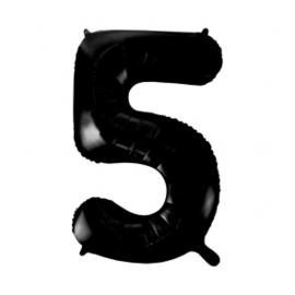 Folieballon cijfer zwart 86cm | 5 |