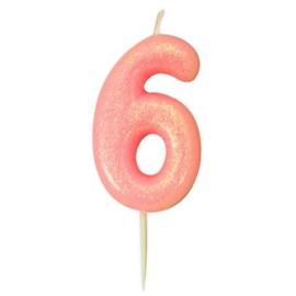 Nummerkaars glitter roze '6'