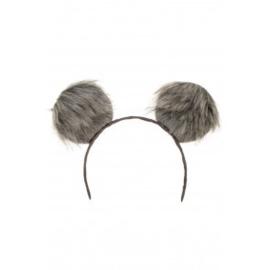 Diadeem grote pluche oren  | grijs