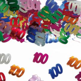 Tafeldecoratie / sier confetti 100 jaar