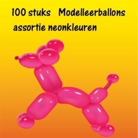 Modelleerballonnen neon 100 stuks