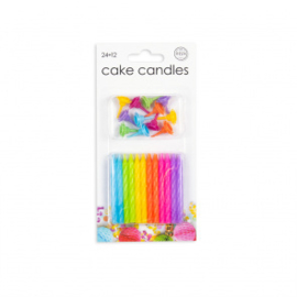 24 Cake kaarsjes + 12 holders multicolor