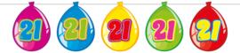 Vlaggenlijn ballonnen 21 jaar