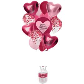 Helium tank Balloongaz 30 'Love' met Ballonnen en Lint