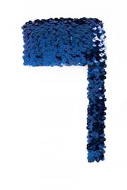 Paillettenband breed elastisch blauw 3m
