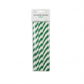 20  Papieren rietjes 6mm x 197mm striped groen