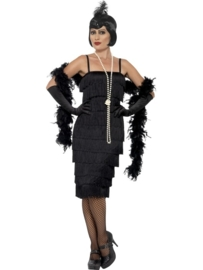Flapper jurkje zwart lang