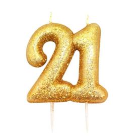 Nummerkaars glitter goud '21'