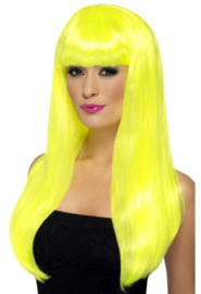 Pruik pony lang  neon geel