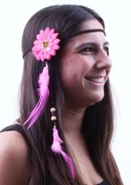 Hippie hoofdband bloem en veren