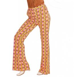 Groovy 70's  dames broek pinkprint