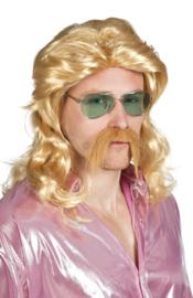 Pruik barry met snor blond