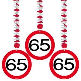 Hangdecoratie Verkeersbord 65 jaar