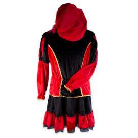 Pieten jurk Marcia zwart rood deluxe