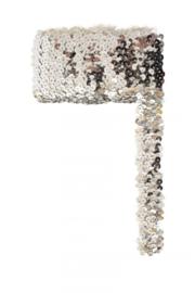 Paillettenband breed elastisch zilver 3m