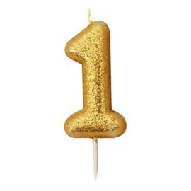 Nummerkaars glitter goud '1'