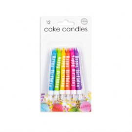 "12 Cake kaarsjes ""Happy Birthday"" multicolor"
