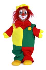 Clownspop met pet rood geel groen 20 cm