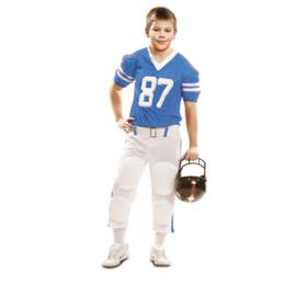 Rugbyspeler jongens kostuum blauw
