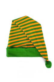 Slaapmuts groen / oranje geblokt