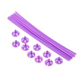 10 ballon sticks 40cm paars