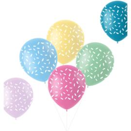 Pastel ballonnen sprinkles   33cm / 6 stuks