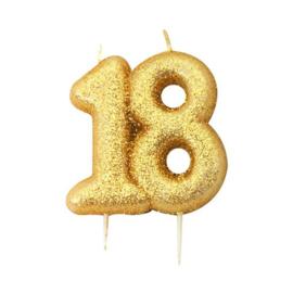 Nummerkaars glitter goud '18'