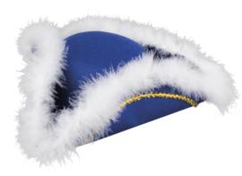 Dansmarieke hoed blauw wit