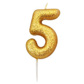 Nummerkaars glitter goud '5'
