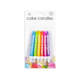"""12 Cake kaarsjes """"Hartelijk Gefeliciteerd"""" mixed colors"""