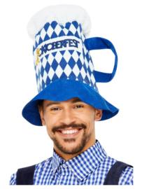 Oktoberfest Bier hoed blauw wit