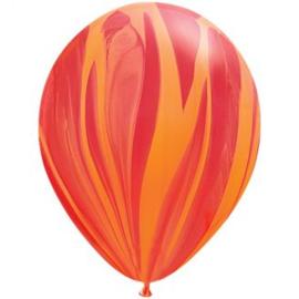 Marmer ballonnen red & orange 25 stuks