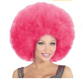 Pruik afro extra groot roze