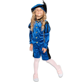 Kinder pieten pakje velours zwart blauw