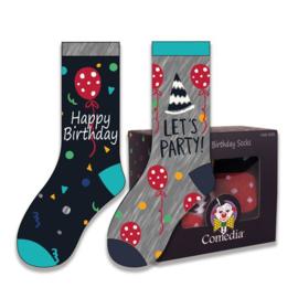 Sokken happy birthday multi (2 paar)