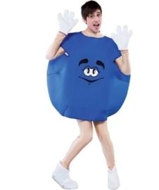 M&M feestkostuum blauw volwassenen