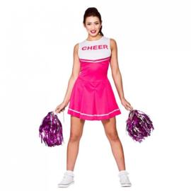 Cheerleader jurkje roze wit