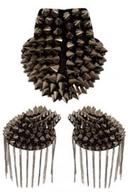 Epaulettenkapje met spikes grijs metalic