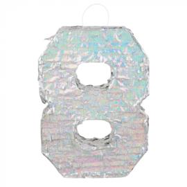 Piñata cijfer '8' holografisch zilver