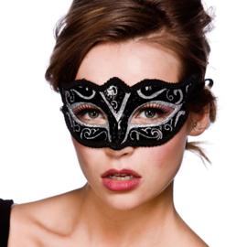 Verona oogmasker zilver glitter