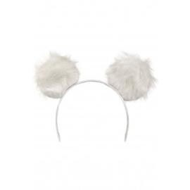 Diadeem grote pluche oren  | wit zwart